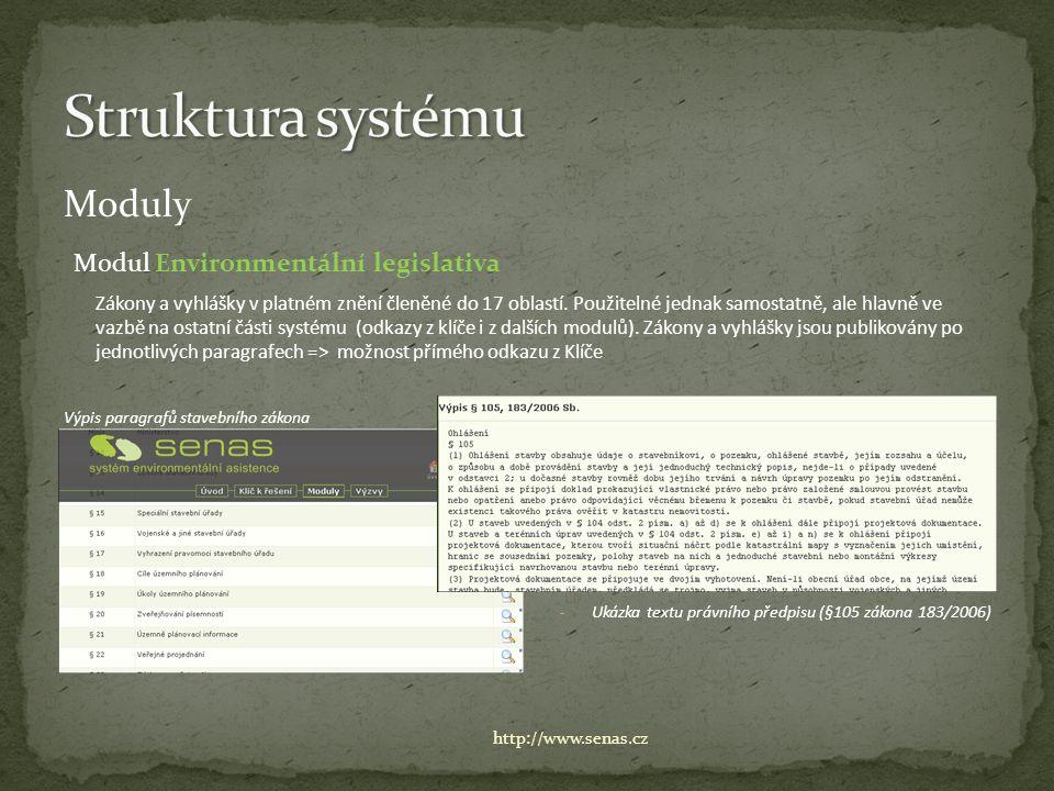 Moduly Modul Environmentální legislativa Zákony a vyhlášky v platném znění členěné do 17 oblastí. Použitelné jednak samostatně, ale hlavně ve vazbě na