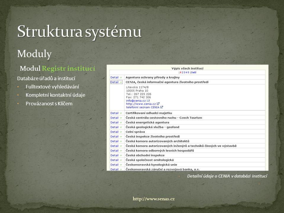 Moduly Modul Registr institucí Databáze úřadů a institucí Fulltextové vyhledávání Kompletní kontaktní údaje Provázanost s Klíčem - Detailní údaje o CENIA v databázi institucí - http://www.senas.cz