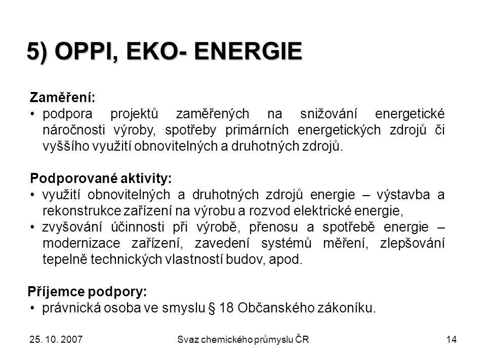 25. 10. 2007Svaz chemického průmyslu ČR14 5) OPPI, EKO- ENERGIE Zaměření: podpora projektů zaměřených na snižování energetické náročnosti výroby, spot