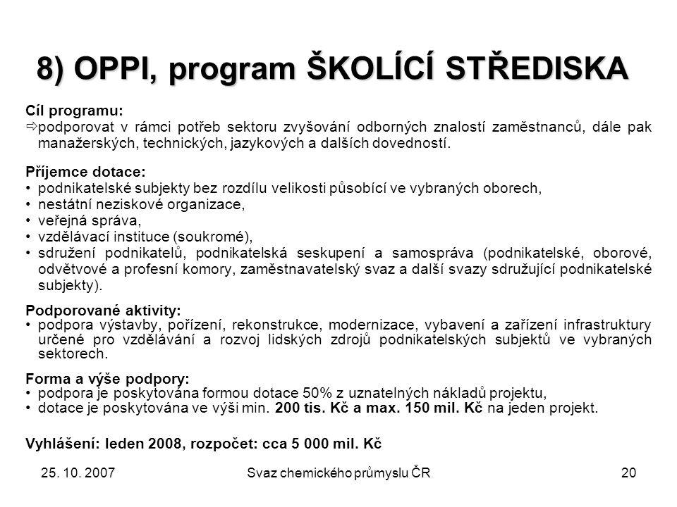 25. 10. 2007Svaz chemického průmyslu ČR20 Cíl programu:  podporovat v rámci potřeb sektoru zvyšování odborných znalostí zaměstnanců, dále pak manažer