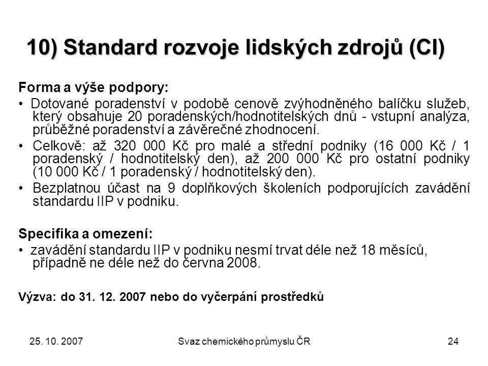 25. 10. 2007Svaz chemického průmyslu ČR24 Forma a výše podpory: Dotované poradenství v podobě cenově zvýhodněného balíčku služeb, který obsahuje 20 po