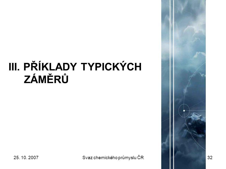 25. 10. 2007Svaz chemického průmyslu ČR32 III. PŘÍKLADY TYPICKÝCH ZÁMĚRŮ