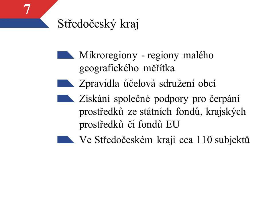 7 Středočeský kraj Mikroregiony - regiony malého geografického měřítka Zpravidla účelová sdružení obcí Získání společné podpory pro čerpání prostředků ze státních fondů, krajských prostředků či fondů EU Ve Středočeském kraji cca 110 subjektů