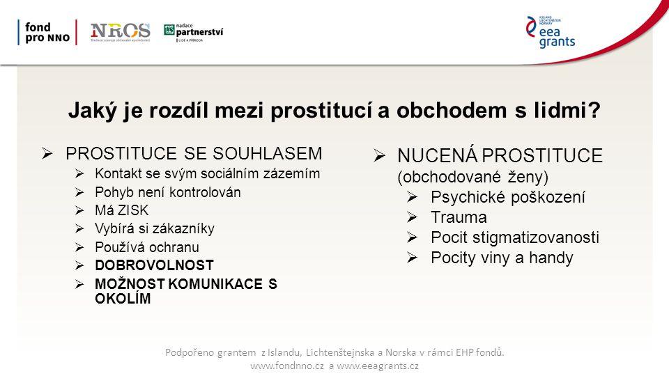 Jaký je rozdíl mezi prostitucí a obchodem s lidmi?  PROSTITUCE SE SOUHLASEM  Kontakt se svým sociálním zázemím  Pohyb není kontrolován  Má ZISK 