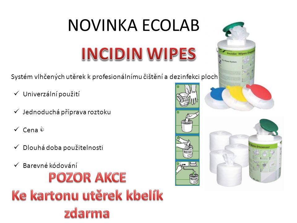 NOVINKA ECOLAB Systém vlhčených utěrek k profesionálnímu čištění a dezinfekci ploch Univerzální použití Jednoduchá příprava roztoku Cena  Dlouhá doba použitelnosti Barevné kódování