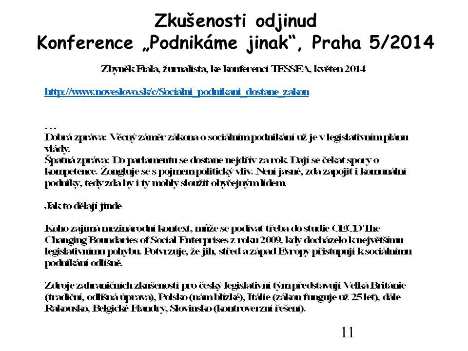 """11 Zkušenosti odjinud Konference """"Podnikáme jinak , Praha 5/2014"""