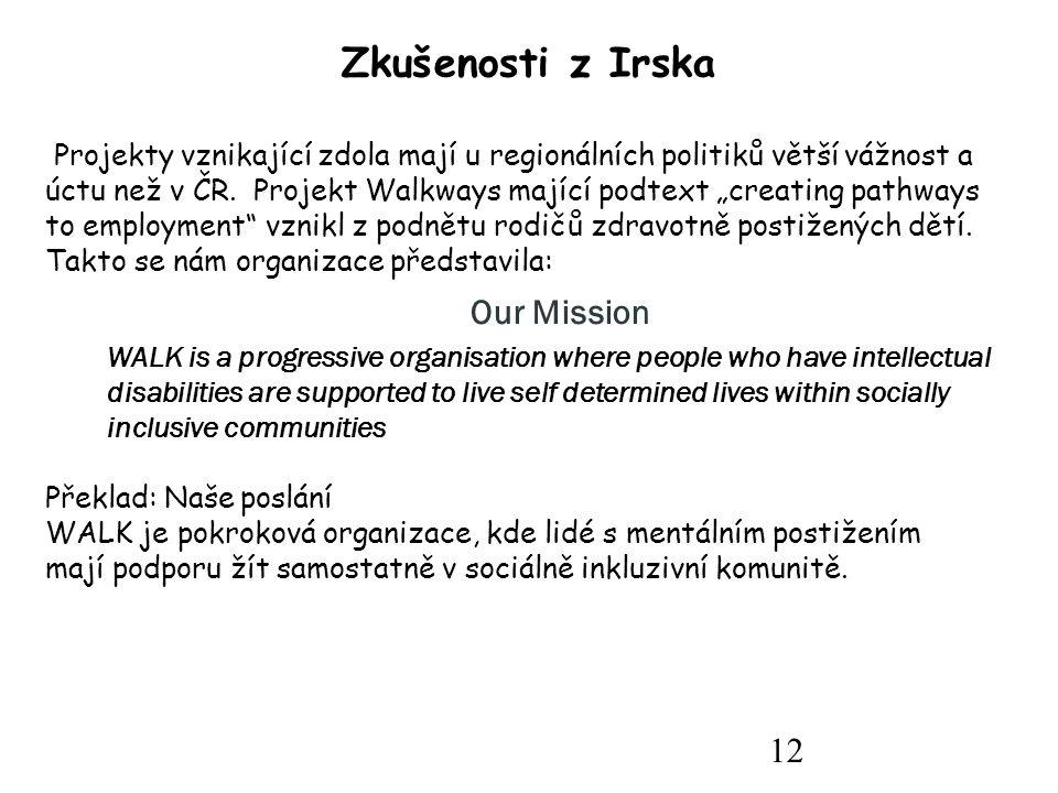 12 Zkušenosti z Irska Projekty vznikající zdola mají u regionálních politiků větší vážnost a úctu než v ČR.