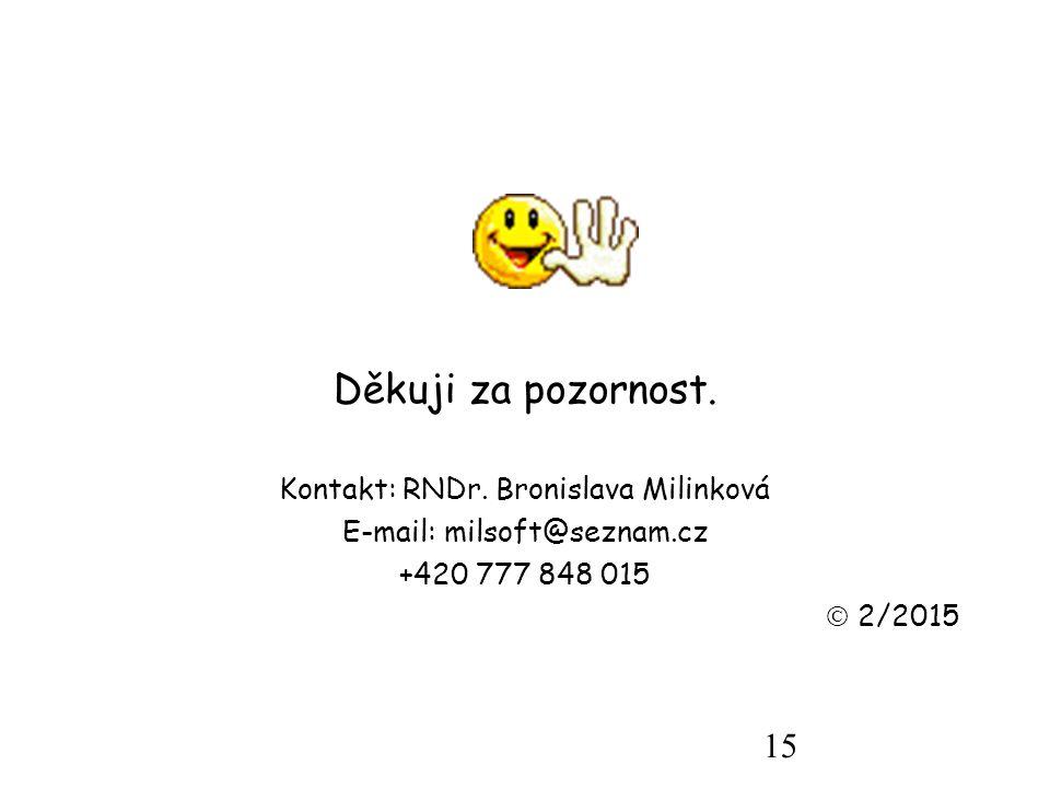15 Děkuji za pozornost. Kontakt: RNDr.