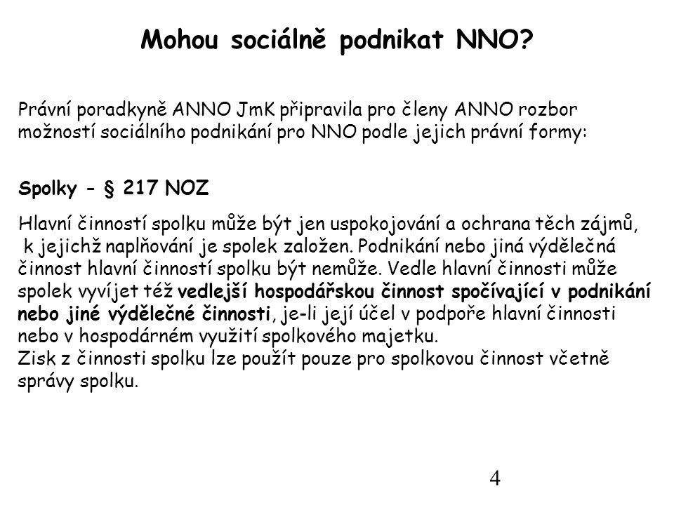4 Mohou sociálně podnikat NNO.