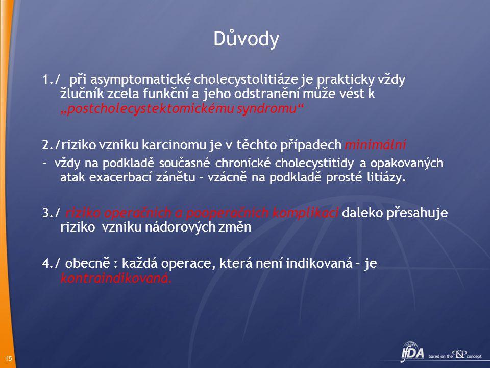 """15 Důvody 1./ při asymptomatické cholecystolitiáze je prakticky vždy žlučník zcela funkční a jeho odstranění může vést k """"postcholecystektomickému syndromu 2./riziko vzniku karcinomu je v těchto případech minimální - vždy na podkladě současné chronické cholecystitidy a opakovaných atak exacerbací zánětu – vzácně na podkladě prosté litiázy."""