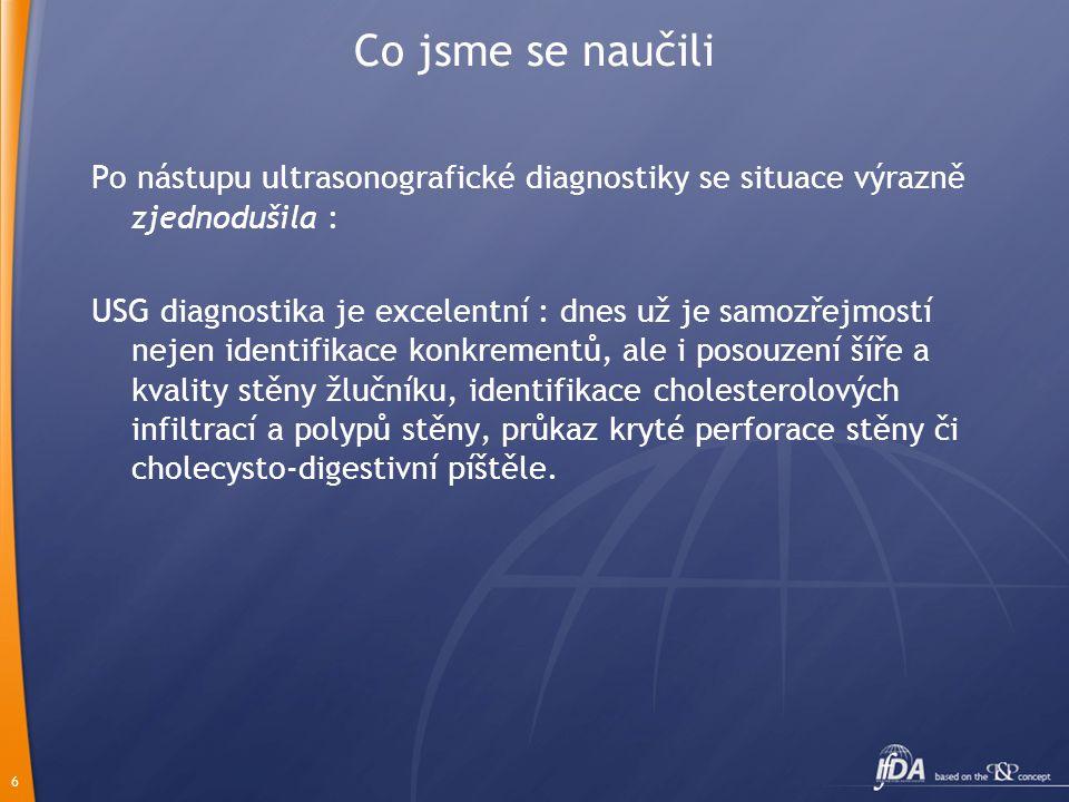 6 Co jsme se naučili Po nástupu ultrasonografické diagnostiky se situace výrazně zjednodušila : USG diagnostika je excelentní : dnes už je samozřejmos