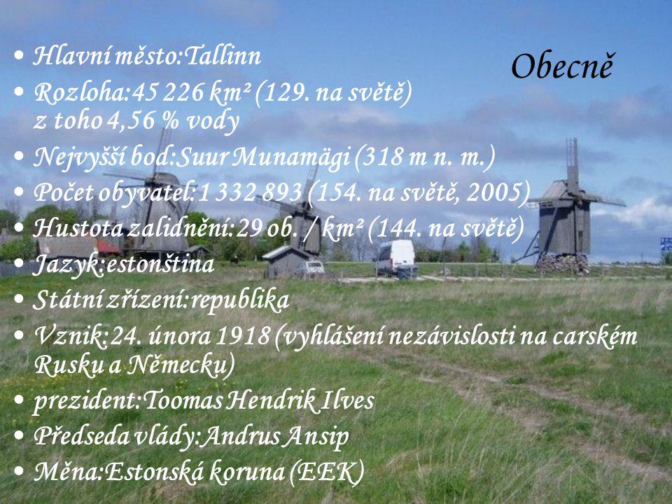 Obecně Hlavní město:Tallinn Rozloha:45 226 km² (129.