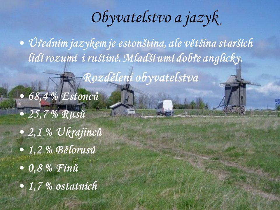 Obyvatelstvo a jazyk Úředním jazykem je estonština, ale většina starších lidí rozumí i ruštině.