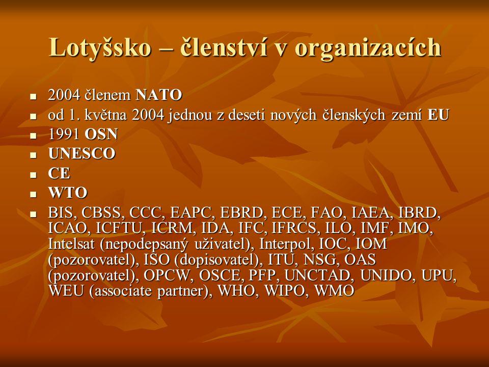 Lotyšsko – členství v organizacích 2004 členem NATO 2004 členem NATO od 1. května 2004 jednou z deseti nových členských zemí EU od 1. května 2004 jedn