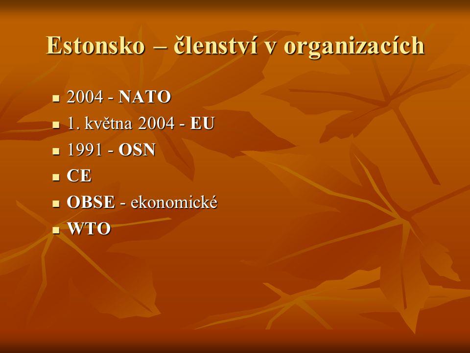 Estonsko – členství v organizacích 2004 - NATO 2004 - NATO 1. května 2004 - EU 1. května 2004 - EU 1991 - OSN 1991 - OSN CE CE OBSE - ekonomické OBSE