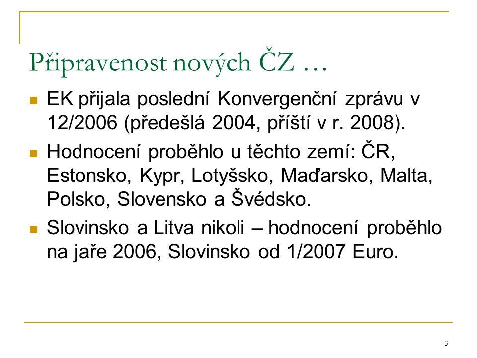 3 Připravenost nových ČZ … EK přijala poslední Konvergenční zprávu v 12/2006 (předešlá 2004, příští v r.