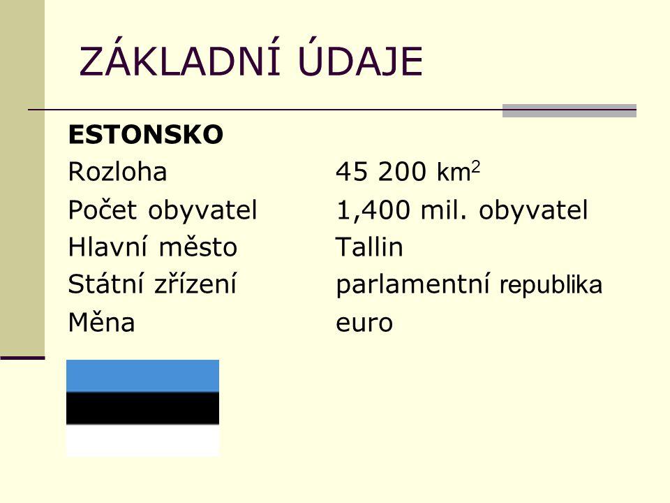 ZÁKLADNÍ ÚDAJE ESTONSKO Rozloha45 200 km 2 Počet obyvatel1,400 mil. obyvatel Hlavní městoTallin Státní zřízeníparlamentní republika Měnaeuro