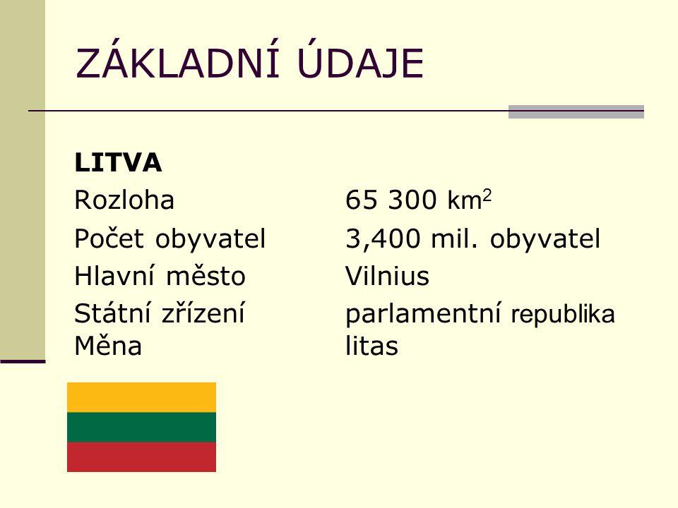 ZÁKLADNÍ ÚDAJE LITVA Rozloha65 300 km 2 Počet obyvatel3,400 mil. obyvatel Hlavní městoVilnius Státní zřízeníparlamentní republika Měnalitas