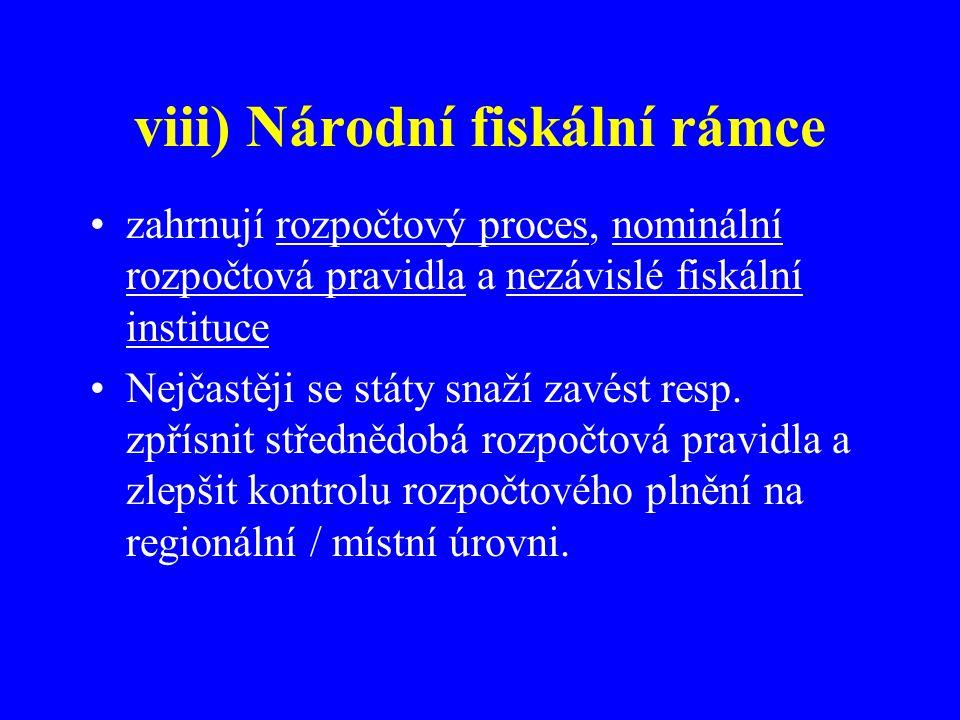 viii) Národní fiskální rámce zahrnují rozpočtový proces, nominální rozpočtová pravidla a nezávislé fiskální instituce Nejčastěji se státy snaží zavést resp.