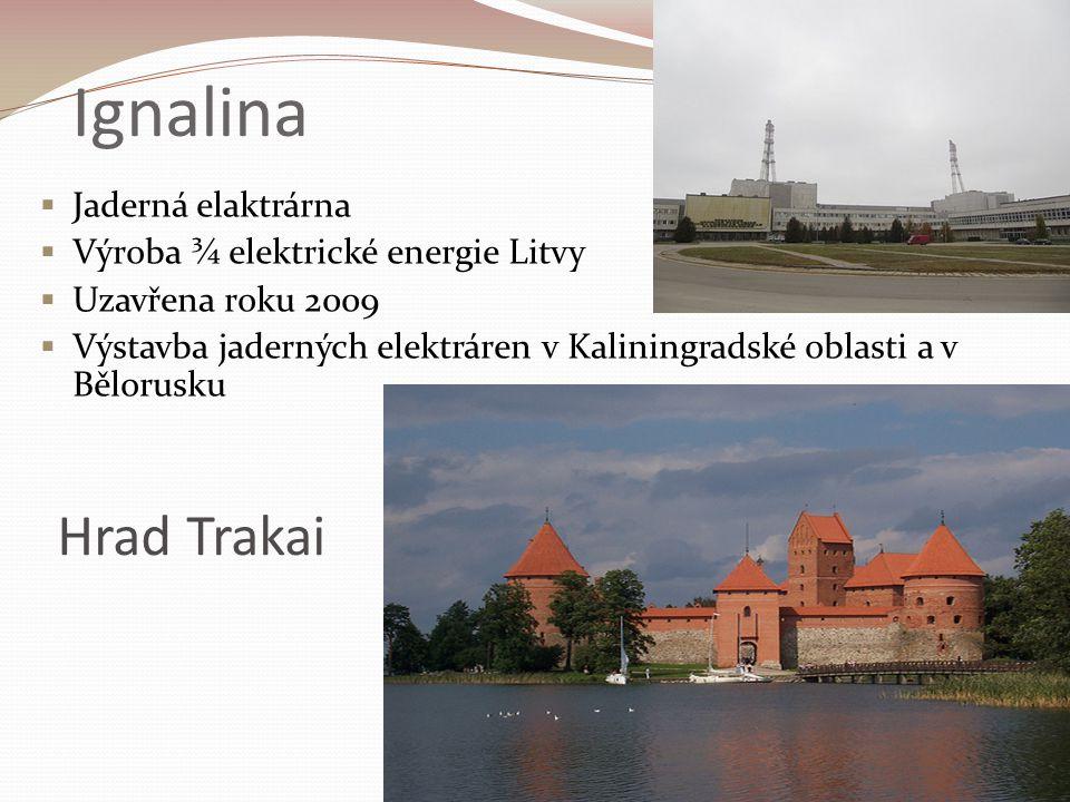 Ignalina  Jaderná elaktrárna  Výroba ¾ elektrické energie Litvy  Uzavřena roku 2009  Výstavba jaderných elektráren v Kaliningradské oblasti a v Bě