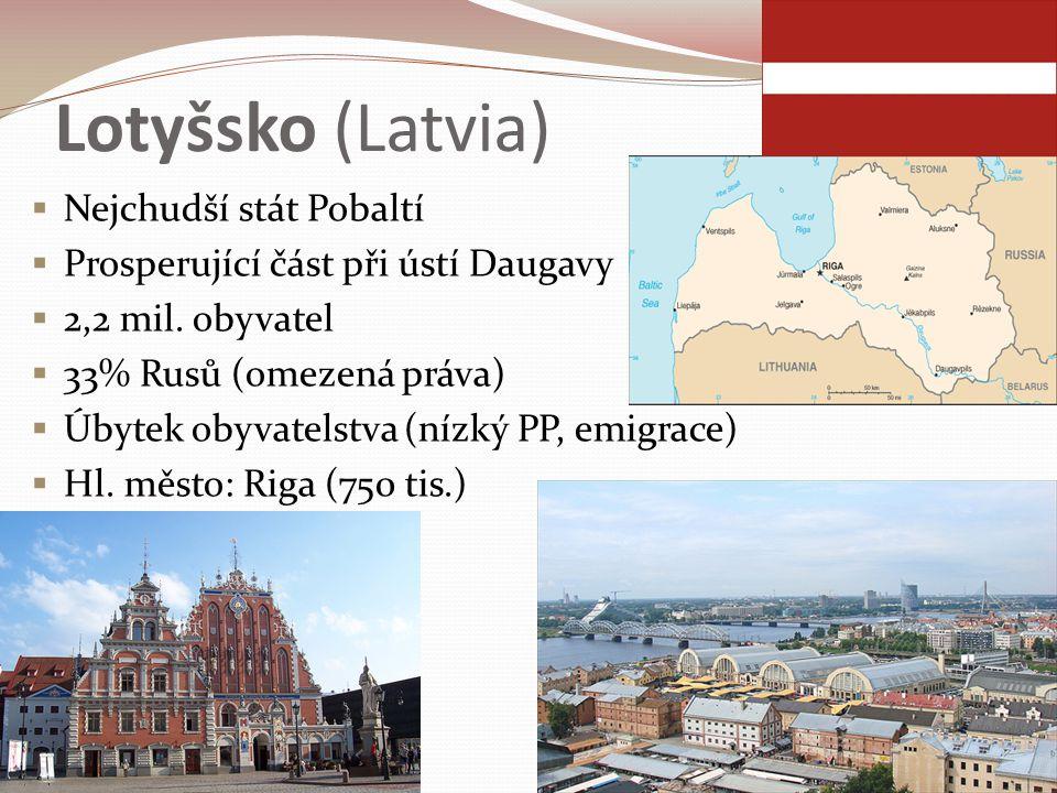 Lotyšsko (Latvia)  Nejchudší stát Pobaltí  Prosperující část při ústí Daugavy  2,2 mil. obyvatel  33% Rusů (omezená práva)  Úbytek obyvatelstva (