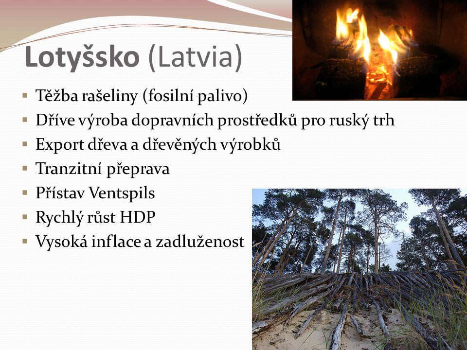 Lotyšsko (Latvia)  Těžba rašeliny (fosilní palivo)  Dříve výroba dopravních prostředků pro ruský trh  Export dřeva a dřevěných výrobků  Tranzitní