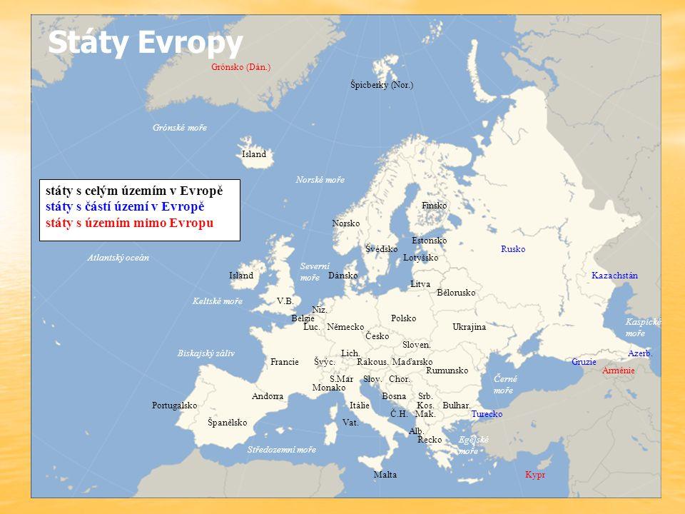 státy s celým územím v Evropě státy s částí území v Evropě státy s územím mimo Evropu Grónsko (Dán.) Špicberky (Nor.) Švédsko Island Norsko Rusko Fins