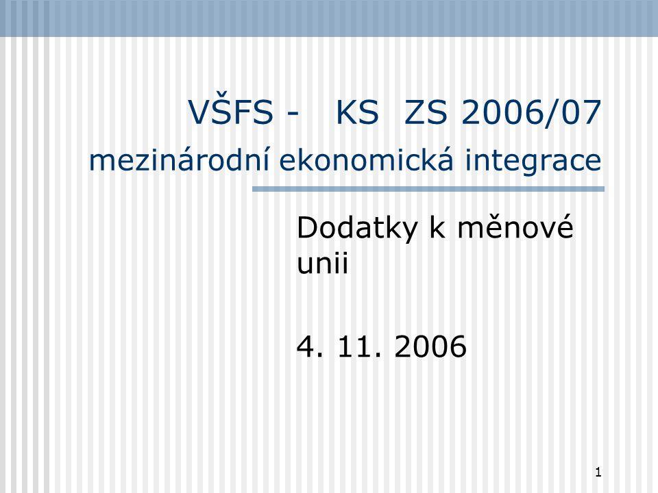 1 VŠFS - KS ZS 2006/07 mezinárodní ekonomická integrace Dodatky k měnové unii 4. 11. 2006