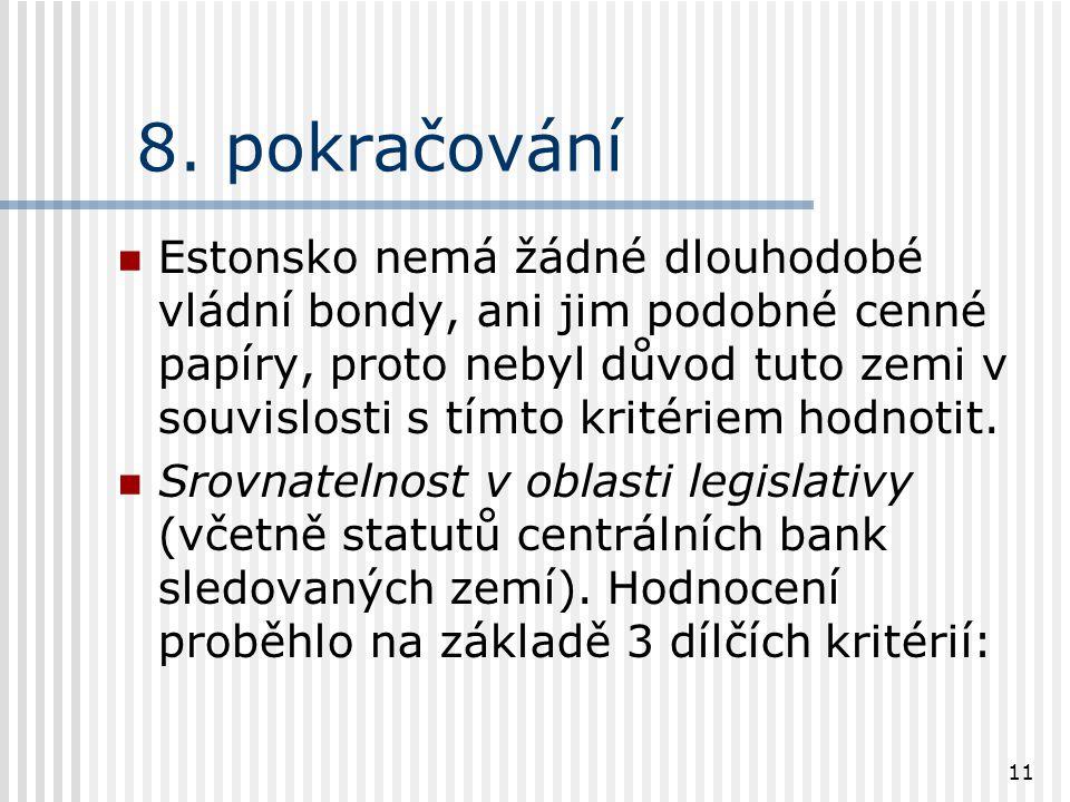 11 8. pokračování Estonsko nemá žádné dlouhodobé vládní bondy, ani jim podobné cenné papíry, proto nebyl důvod tuto zemi v souvislosti s tímto kritéri