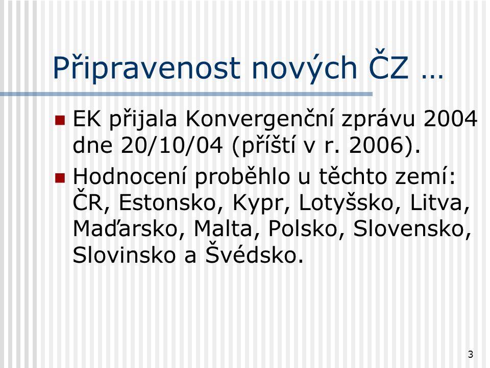 3 Připravenost nových ČZ … EK přijala Konvergenční zprávu 2004 dne 20/10/04 (příští v r.
