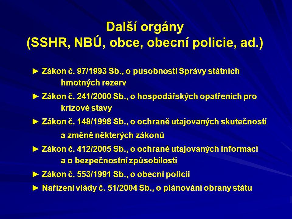 Další orgány (SSHR, NBÚ, obce, obecní policie, ad.) ► Zákon č. 97/1993 Sb., o působnosti Správy státních hmotných rezerv ► Zákon č. 241/2000 Sb., o ho