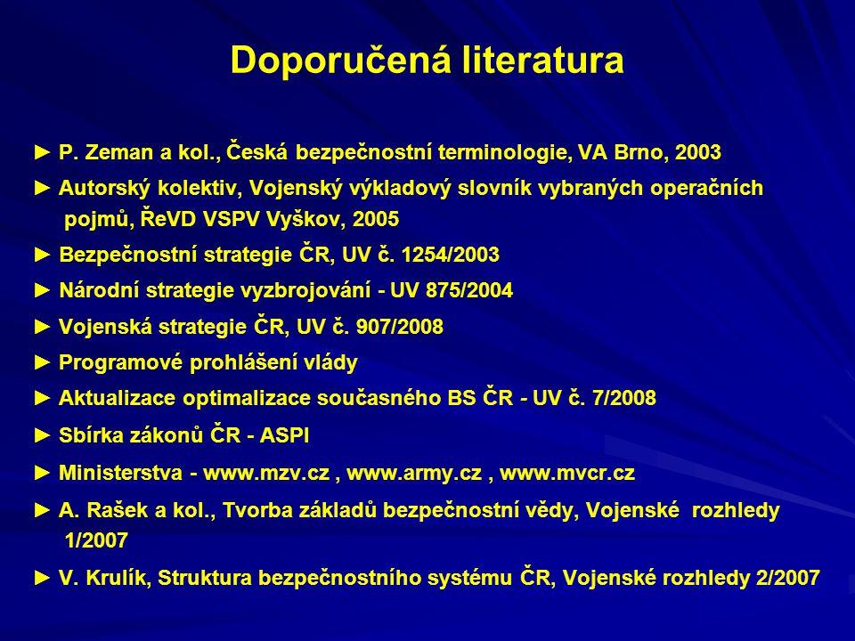 Doporučená literatura ► P. Zeman a kol., Česká bezpečnostní terminologie, VA Brno, 2003 ► Autorský kolektiv, Vojenský výkladový slovník vybraných oper