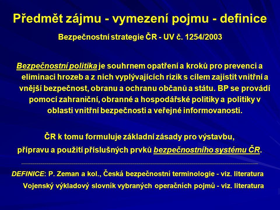 Předmět zájmu - vymezení pojmu - definice Bezpečnostní strategie ČR - UV č. 1254/2003 Bezpečnostní politika je souhrnem opatření a kroků pro prevenci