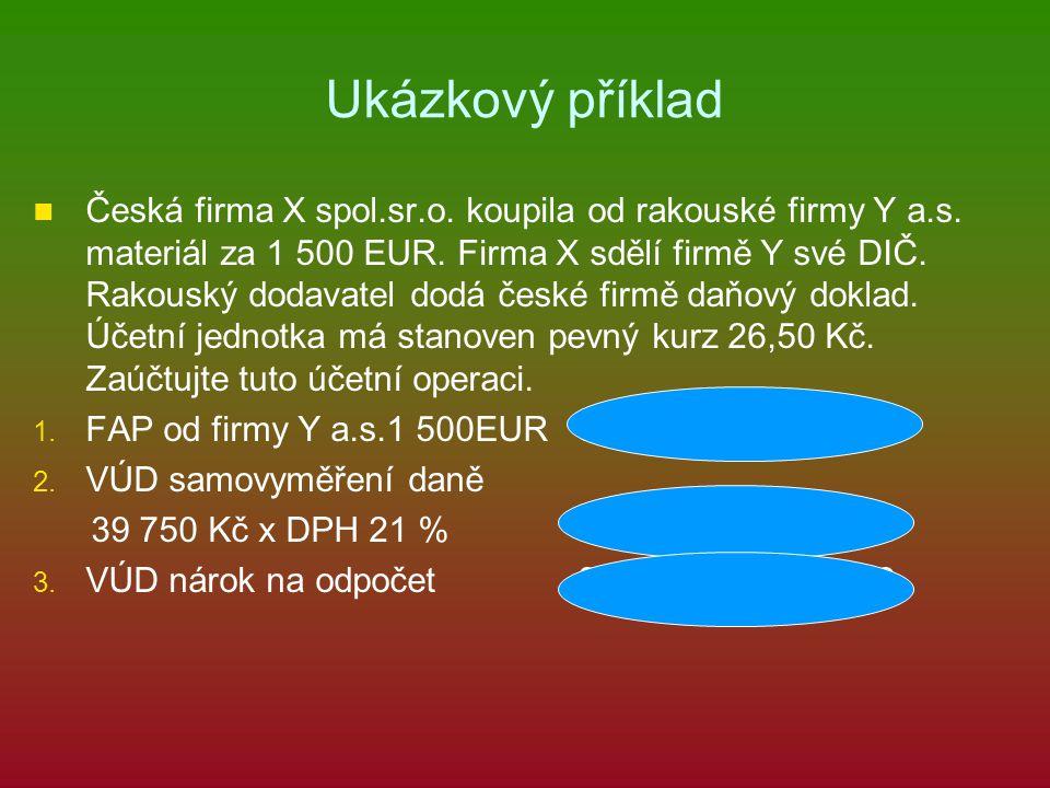 Ukázkový příklad Česká firma X spol.sr.o. koupila od rakouské firmy Y a.s.