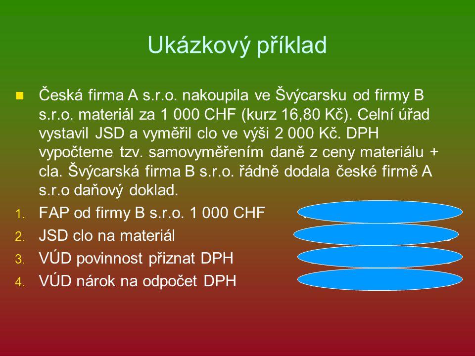 Ukázkový příklad Česká firma A s.r.o. nakoupila ve Švýcarsku od firmy B s.r.o.