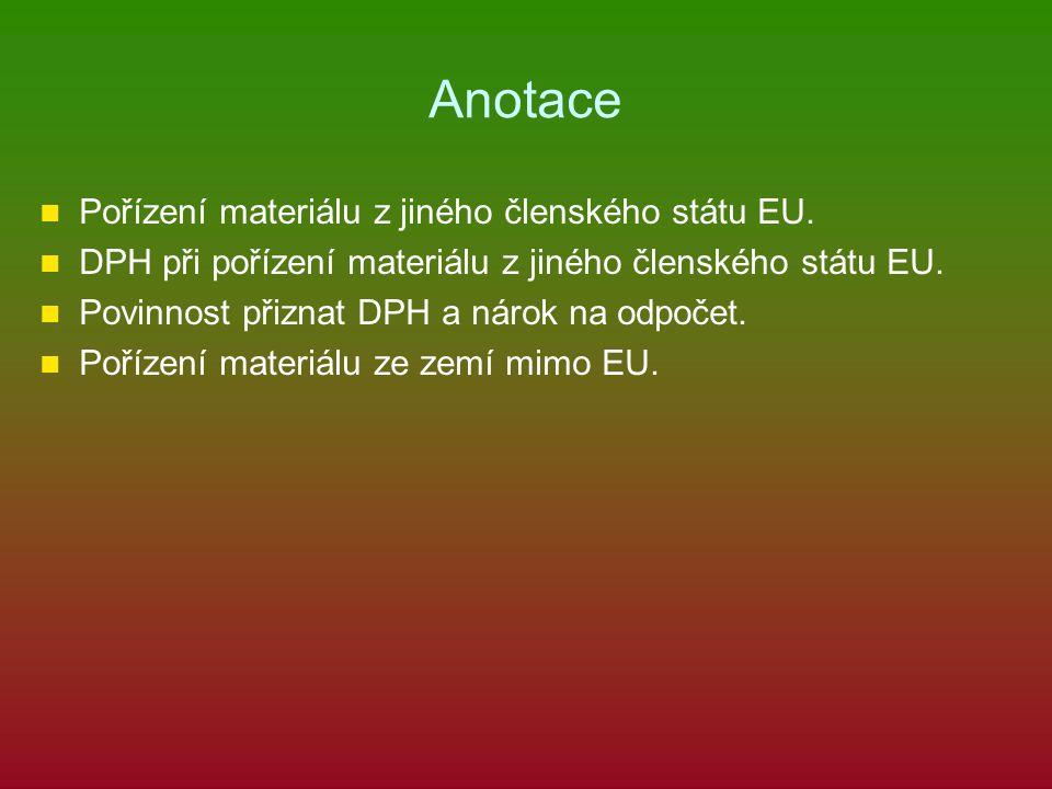 Ukázkový příklad Česká firma A s.r.o.nakoupila ve Švýcarsku od firmy B s.r.o.