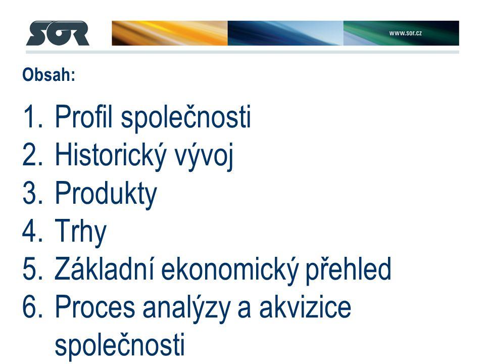 1.Profil společnosti 2.Historický vývoj 3.Produkty 4.Trhy 5.Základní ekonomický přehled 6.Proces analýzy a akvizice společnosti 7.Správa společnosti – klíčové změny 8.Strategický výhled / plán rozvoje společnosti Obsah: