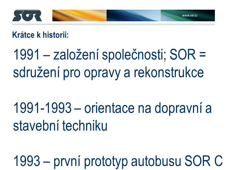 1991 – založení společnosti; SOR = sdružení pro opravy a rekonstrukce 1991-1993 – orientace na dopravní a stavební techniku 1993 – první prototyp autobusu SOR C 7,5; mnoho činností outsourcováno 1994...