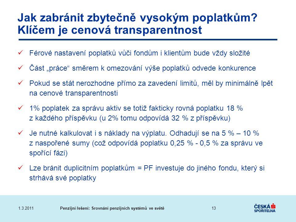 Penzijní řešení: Srovnání penzijních systémů ve světě1.3.2011 Jak zabránit zbytečně vysokým poplatkům? Klíčem je cenová transparentnost Férové nastave