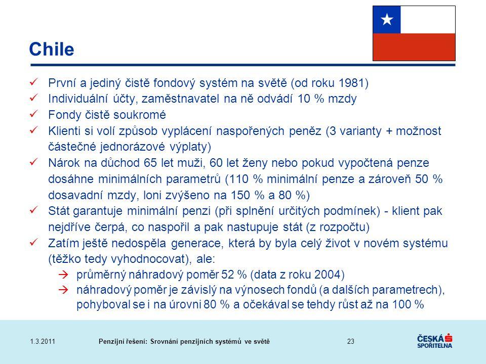 Penzijní řešení: Srovnání penzijních systémů ve světě1.3.2011 Chile První a jediný čistě fondový systém na světě (od roku 1981) Individuální účty, zam