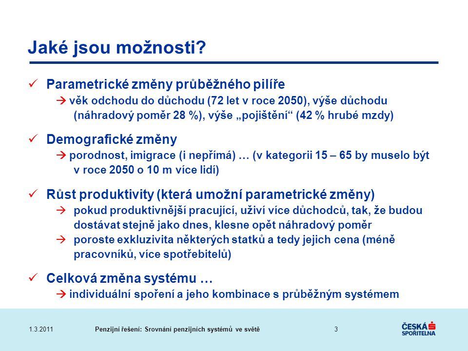 Penzijní řešení: Srovnání penzijních systémů ve světě1.3.2011 Jaké jsou možnosti? Parametrické změny průběžného pilíře  věk odchodu do důchodu (72 le