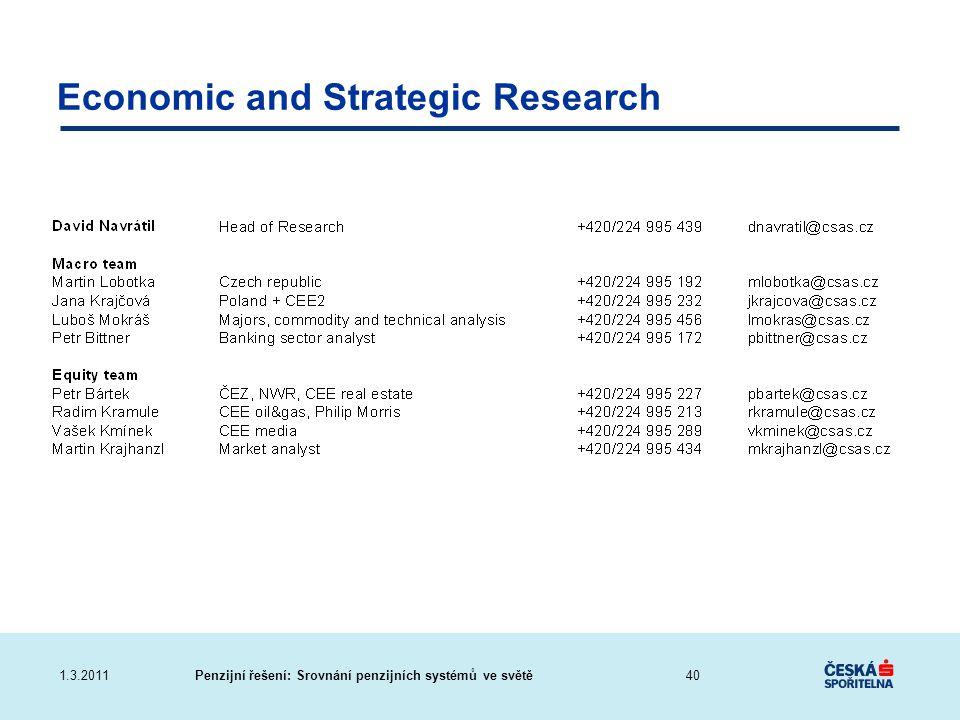 Penzijní řešení: Srovnání penzijních systémů ve světě1.3.2011 Economic and Strategic Research 40