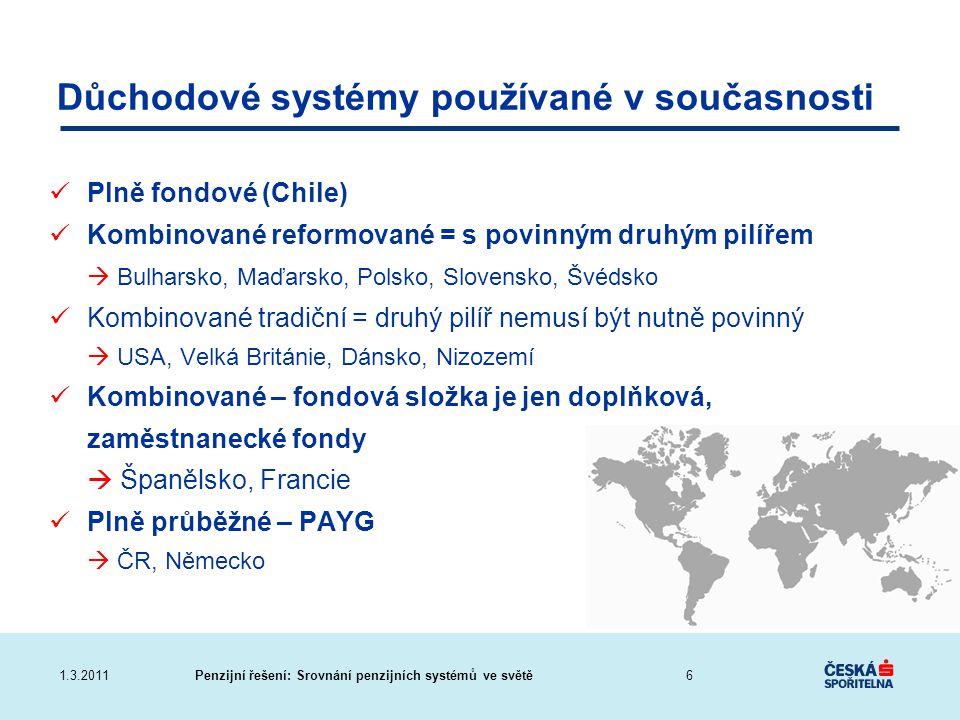 Penzijní řešení: Srovnání penzijních systémů ve světě1.3.2011 Důchodové systémy používané v současnosti Plně fondové (Chile) Kombinované reformované =