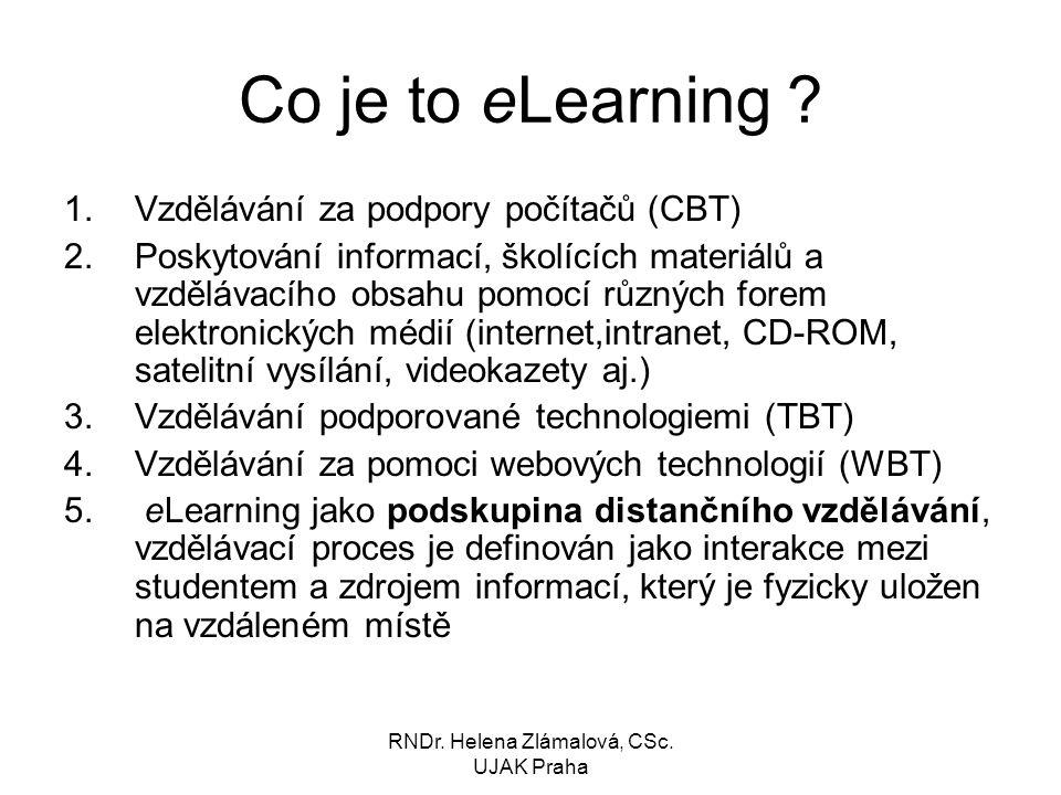 RNDr.Helena Zlámalová, CSc. UJAK Praha Co je to eLearning .