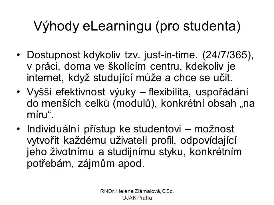 RNDr.Helena Zlámalová, CSc. UJAK Praha Výhody eLearningu (pro studenta) Dostupnost kdykoliv tzv.