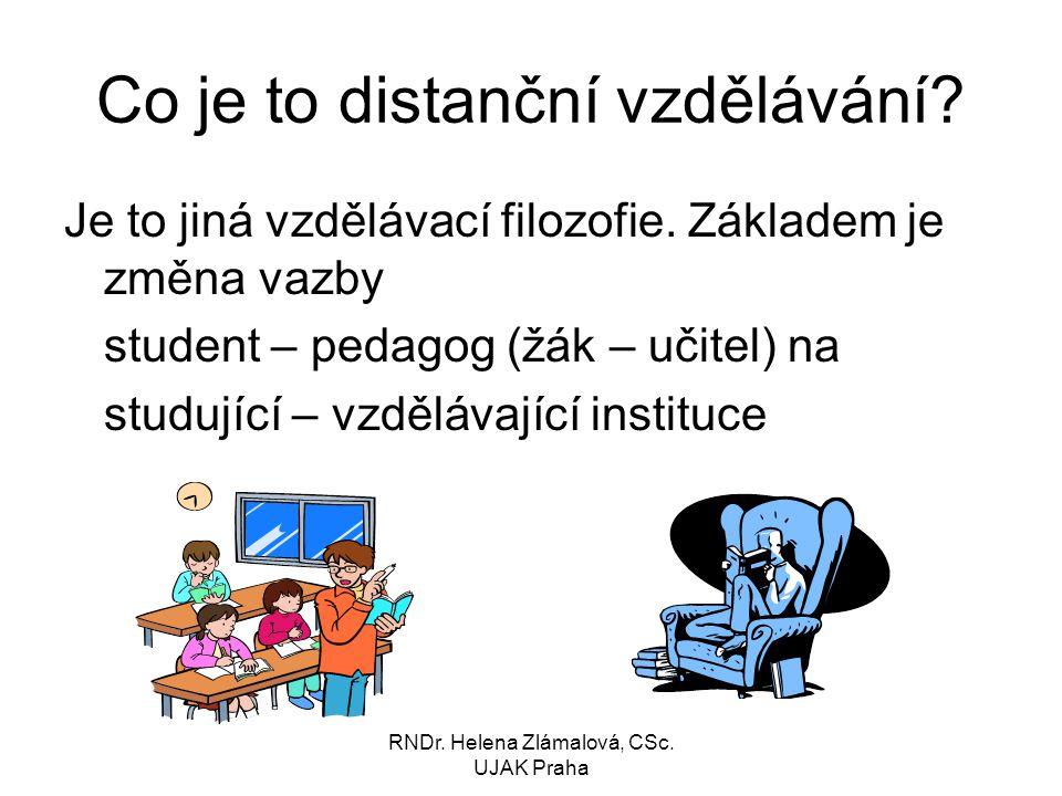RNDr.Helena Zlámalová, CSc. UJAK Praha Co je to distanční vzdělávání.