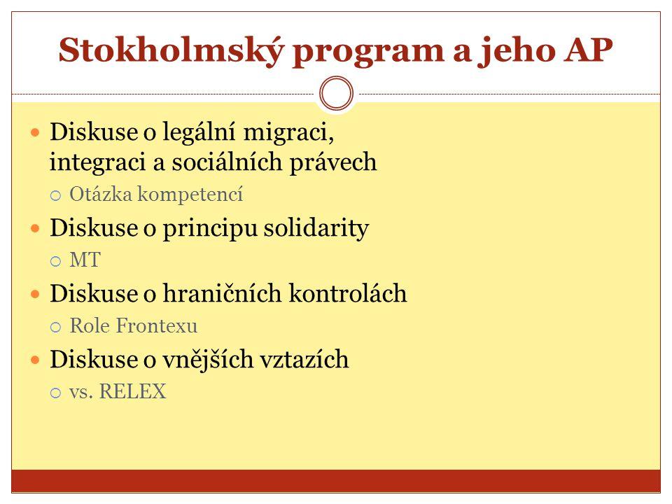 Stokholmský program a jeho AP Diskuse o legální migraci, integraci a sociálních právech  Otázka kompetencí Diskuse o principu solidarity  MT Diskuse