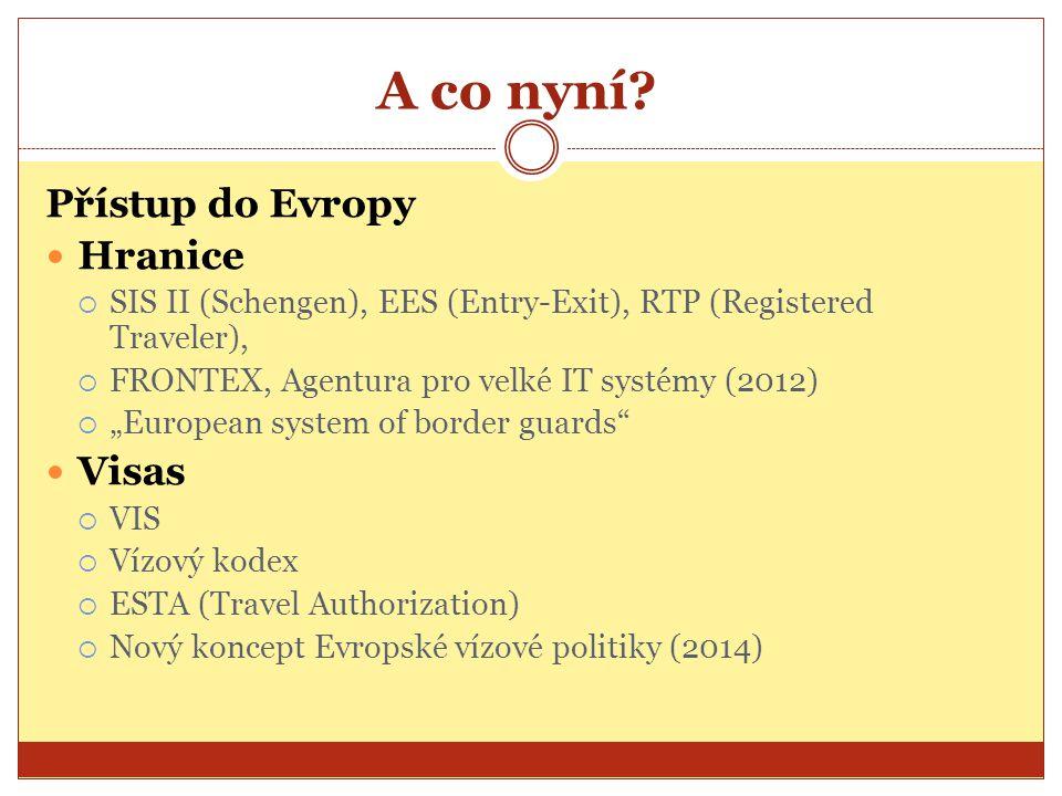 A co nyní? Přístup do Evropy Hranice  SIS II (Schengen), EES (Entry-Exit), RTP (Registered Traveler),  FRONTEX, Agentura pro velké IT systémy (2012)