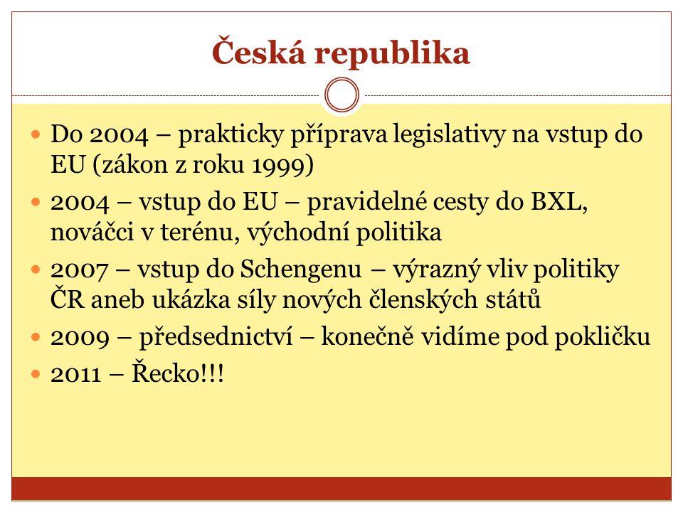Česká republika Do 2004 – prakticky příprava legislativy na vstup do EU (zákon z roku 1999) 2004 – vstup do EU – pravidelné cesty do BXL, nováčci v te