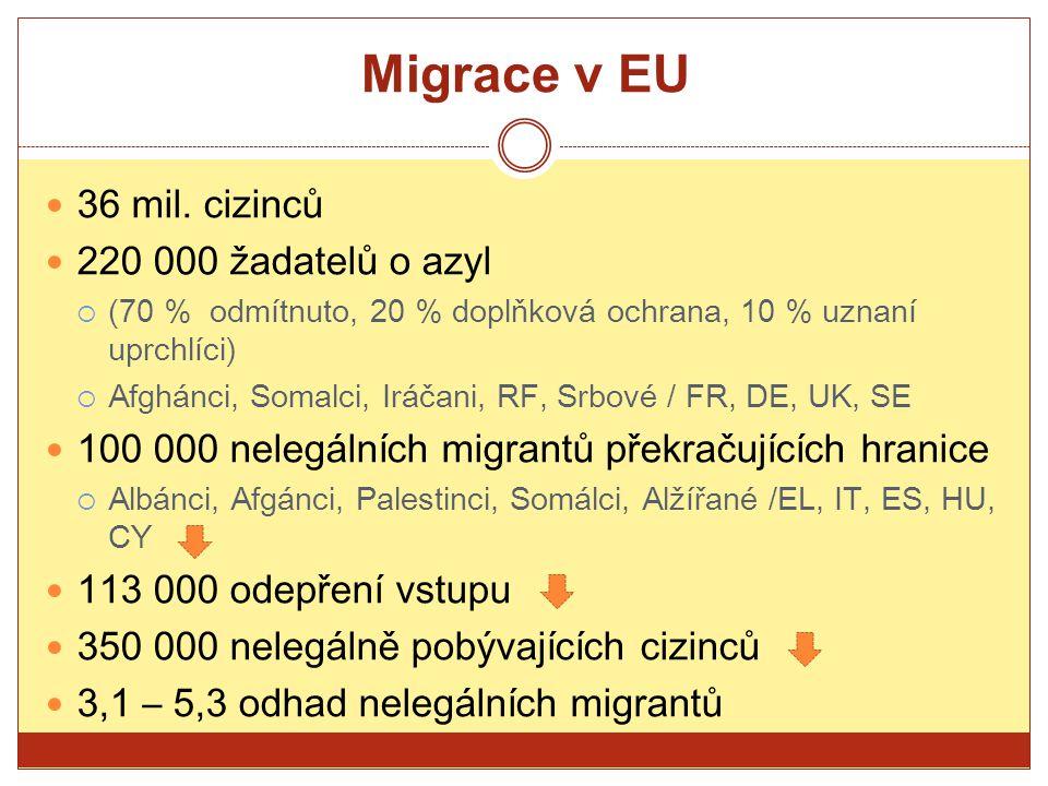 Migrace v EU 36 mil. cizinců 220 000 žadatelů o azyl  (70 % odmítnuto, 20 % doplňková ochrana, 10 % uznaní uprchlíci)  Afghánci, Somalci, Iráčani, R